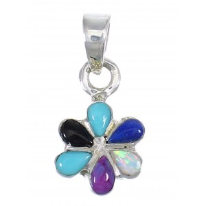 Flower Sterling Silver And Multicolor Inlay Southwest Slide Pendant YX67853