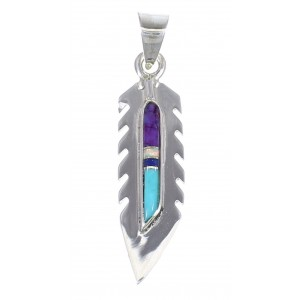 Feather Sterling Silver And Multicolor Inlay Southwest Pendant YX67855