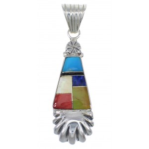Multicolor And Genuine Sterling Silver Southwest Slide Pendant YX68151