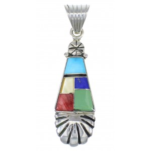Multicolor Inlay And Authentic Sterling Silver Southwestern Pendant YX68282