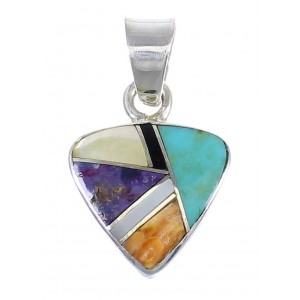 Authentic Sterling Silver And Multicolor Southwest Pendant YX68190