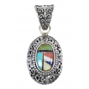 Authentic Sterling Silver And Multicolor Southwest Slide Pendant YX68195