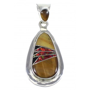 Sterling Silver Multicolor Inlay Southwestern Slide Pendant YX67930