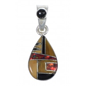 Genuine Sterling Silver And Multicolor Southwestern Tear Drop Pendant YX67963