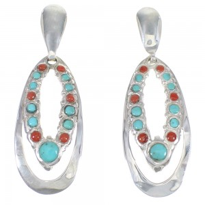Sterling Silver Turquoise And Coral Genuine Southwestern Post Dangle Earrings YX68127