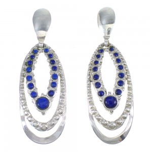 Southwestern Sterling Silver And Lapis Post Dangle Earrings YX68314