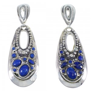 Southwestern Sterling Silver And Lapis Post Dangle Earrings YX68319