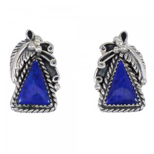 Southwest Authentic Sterling Silver And Lapis Post Earrings YX68345