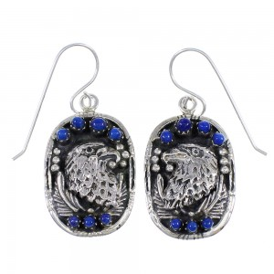 Lapis And Sterling Silver Southwestern Eagle Hook Dangle Earrings YX68487