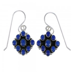 Southwest Lapis And Sterling Silver Hook Dangle Earrings YX68491