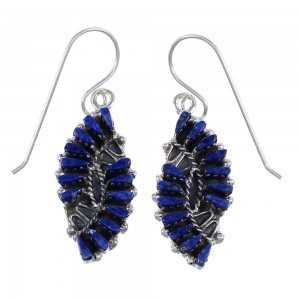 Southwest Sterling Silver And Lapis Needlepoint Hook Dangle Earrings YX68498