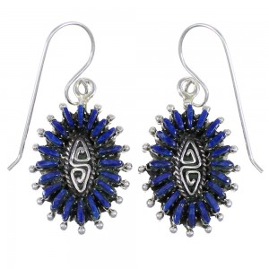 Southwest Lapis And Sterling Silver Needlepoint Water Wave Hook Dangle Earrings YX68501
