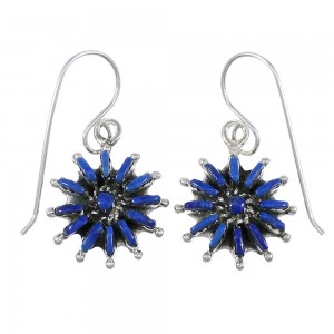 Lapis And Sterling Silver Needlepoint Hook Dangle Earrings YX68502