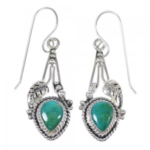 Southwestern Turquoise And Sterling Silver Jewelry Hook Dangle Earrings YX68619