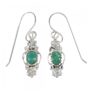 Southwest Authentic Sterling Silver And Turquoise Flower Hook Dangle Earrings YX68641