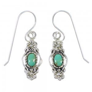 Southwestern Authentic Sterling Silver And Turquoise Flower Hook Dangle Earrings YX68642
