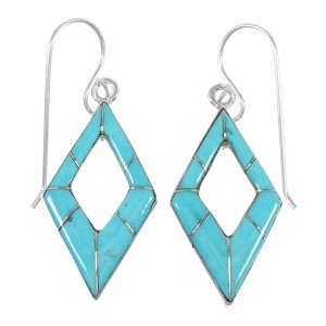 Southwest Genuine Sterling Silver And Turquoise Hook Dangle Earrings YX69726