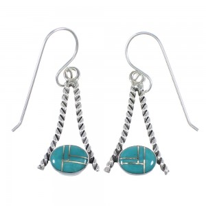 Turquoise Inlay And Sterling Silver Hook Dangle Earrings YX79131