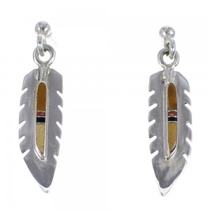 Multicolor Sterling Silver Feather Southwest Post Dangle Earrings WX71594