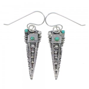 Turquoise Sterling Silver Hook Dangle Earrings QX69684