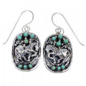 Authentic Sterling Silver Southwest Turquoise Horse Hook Dangle Earrings QX70262