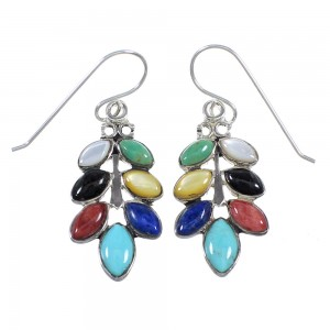 Multicolor Silver Southwest Hook Dangle Earrings YX71094
