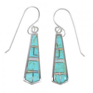 Turquoise Opal Southwestern Authentic Sterling Silver Hook Dangle Earrings QX72328