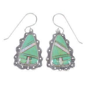 Southwestern Authentic Sterling Silver Turquoise Opal Hook Dangle Earrings QX81857