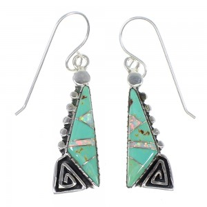 Turquoise Opal Water Wave Authentic Sterling Silver Southwest Hook Dangle Earrings QX81939