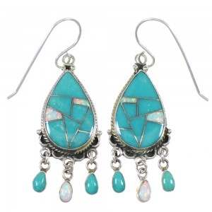 Turquoise And Opal Sterling Silver Southwestern Hook Dangle Earrings QX82104
