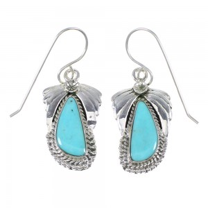 Turquoise Authentic Sterling Silver Southwest Flower Hook Dangle Earrings RX69304
