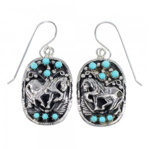 Turquoise Authentic Sterling Silver Horse Southwest Hook Dangle Earrings QX69235