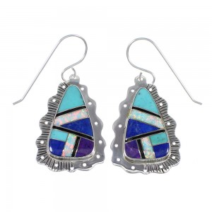 Authentic Sterling Silver Southwest Multicolor Hook Dangle Earrings RX70578
