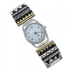 Genuine Sterling Silver 12 Karat Gold Filled Navajo Tommy And Rosita Singer Watch RX69712
