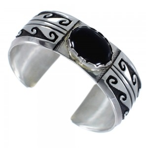 Navajo Water Wave Onyx Genuine Sterling Silver Tommy And Rose Singer Cuff Bracelet RX69908