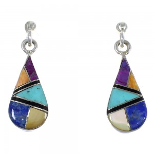 Multicolor Inlay Tear Drop Authentic Sterling Silver Southwest Post Dangle Earrings QX72184