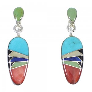 Southwestern Authentic Sterling Silver Multicolor Inlay Post Dangle Earrings QX72142