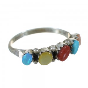 Zuni Indian Sterling Silver Multicolor Jewelry Ring Size 7-3/4 WX73404