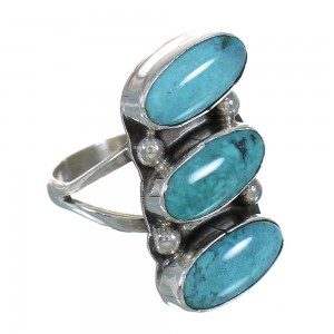 Navajo American Indian Turquoise And Sterling Silver Ring Size 7-1/4 YX72983