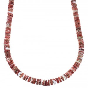 Native American Red Oyster Shell And Sterling Silver Bead Necklace WX77322