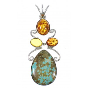 Sterling Silver #8 Turquoise Amber Southwest Pendant YX77179
