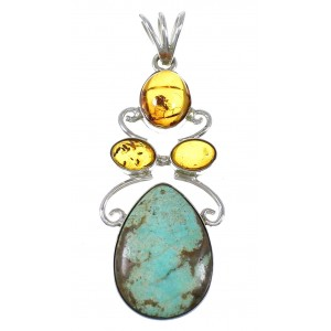 #8 Turquoise Amber Sterling Silver Southwest Pendant YX77188