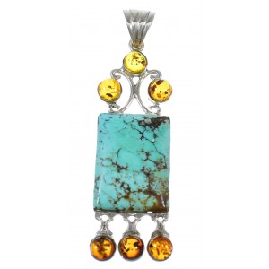Amber Turquoise Silver Southwestern Pendant YX77205