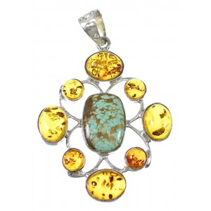 Southwestern #8 Turquoise Amber Silver Pendant YX77216