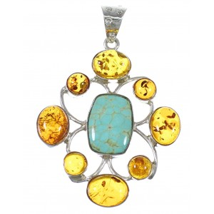 Southwestern Sterling Silver Amber #8 Turquoise Pendant YX77232