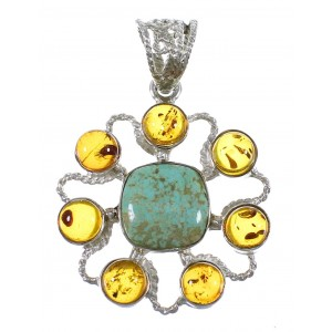 #8 Turquoise And Amber Southwest Sterling Silver Pendant QX74111