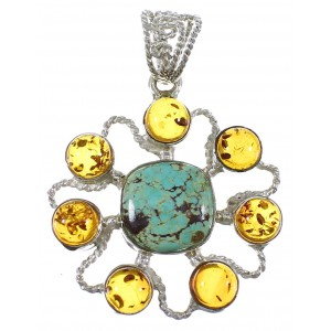 #8 Turquoise And Amber Southwestern Authentic Sterling Silver Pendant QX74116