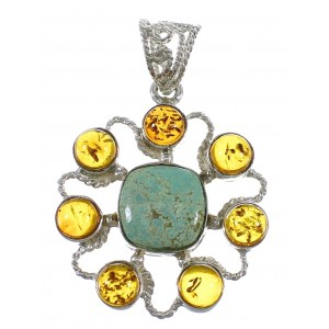 Southwestern Silver #8 Turquoise And Amber Pendant QX74121