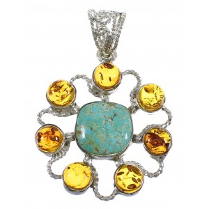 Silver Southwestern #8 Turquoise And Amber Pendant QX74147