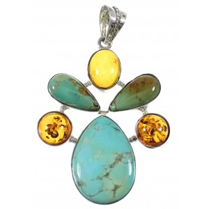 Turquoise And Amber Southwest Sterling Silver Jewelry Pendant QX74163